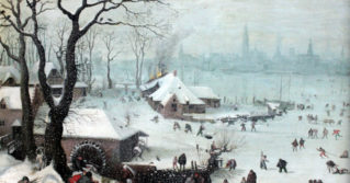 Lucas van Valckenborch painted a cold winter landscape set near Antwerp, Belgium, in 1575. Europe was then in the midst of the Little Ice Age.