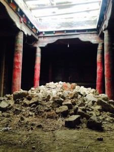 The earthquake ravaged the courtyard of Namgyal's monastery.