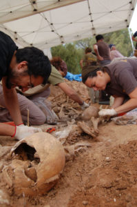 Archaeologists work at the Gumiel de Izán site to uncover the bodies of Civil War victims.