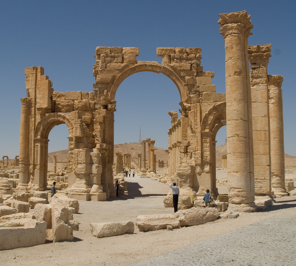 "Cultural heritage - Palmyra was attacked by ISIS in 2015. The Arch of Triumph, shown here the way it looked before the attack, was almost completely destroyed. Many referred to the destruction as ""cultural genocide."""