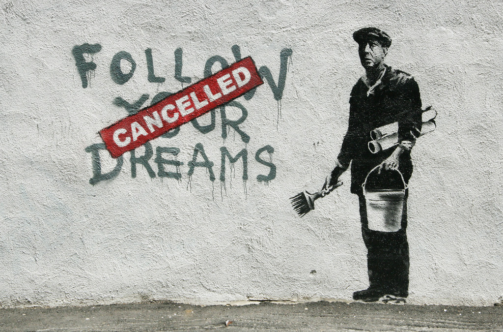 Graffiti bombing - Graffiti—such as the work of Banksy—is often used to question established power regimes.
