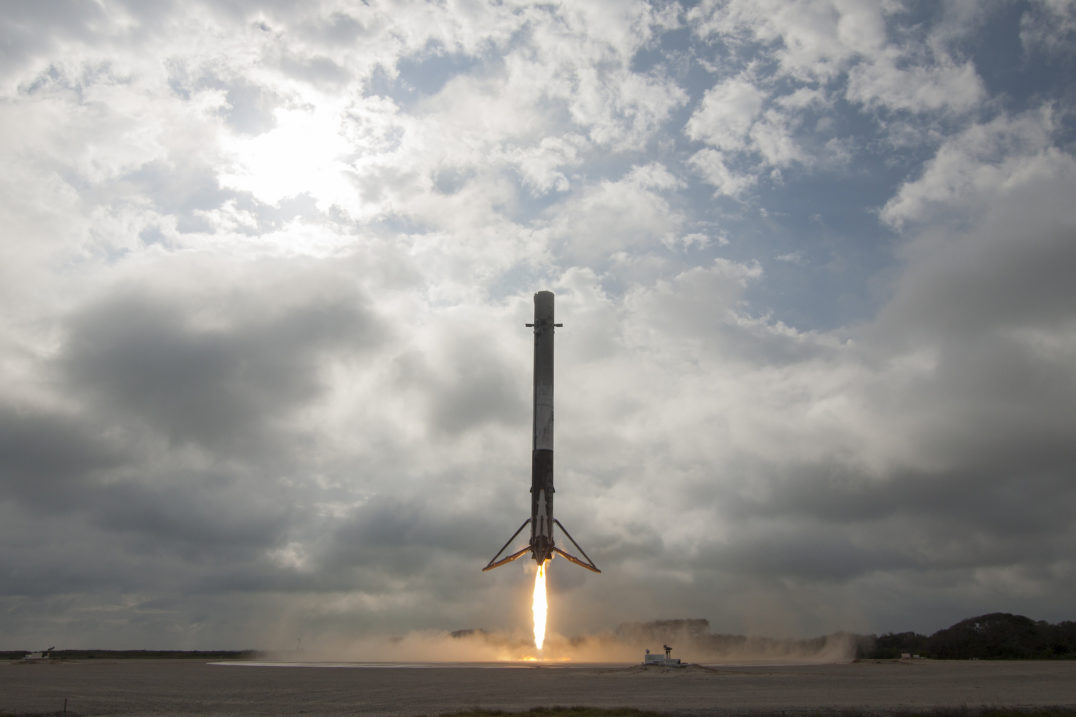 SpaceX's Falcon 9 first-stage rocket lands at Florida's Cape Canaveral Air Force Station in February 2017.
