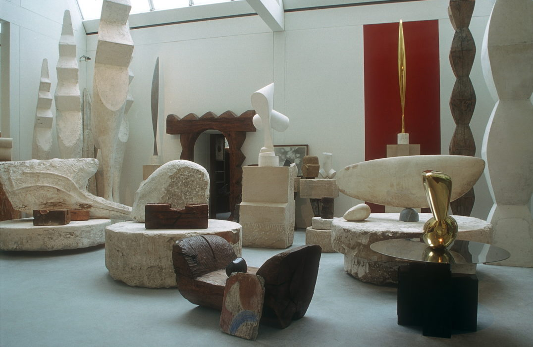 Constantin Brancusi - Brâncuşi's studio, a renovated replica of which is on display in a small building near the Centre Pompidou in Paris, became an exhibition space—even as it remained the sculptor's home and refuge throughout two world wars.