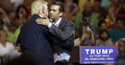 human evolution politics - Republican presidential candidate Donald Trump, left, hugs his son Donald Trump Jr. during a rally at Ohio University Eastern Campus in St. Clairsville, Ohio, Tuesday, June 28, 2016.