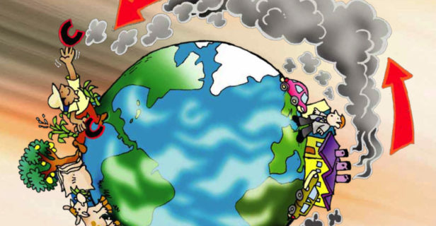 This illustration, from the cover of a pamphlet published by the Costa Rican environmental organization CEDECO, depicts global interconnections between Europe and Latin America that have arisen due to climate change.