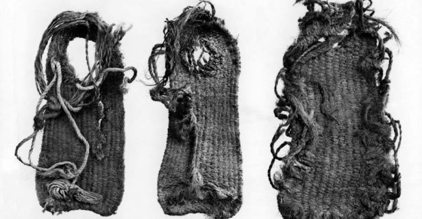 These well-preserved ancient sandals came from Tularosa Cave. For an idea of their size, the center one is about 24 centimeters long.