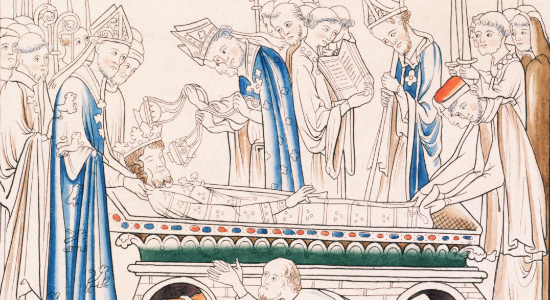 human lifespan history - Edward the Confessor, one of the last Anglo-Saxon kings of England, died when he was in his early 60s. This illustration depicts the deposition of his body in a tomb at London's Westminster Abbey in 1066.