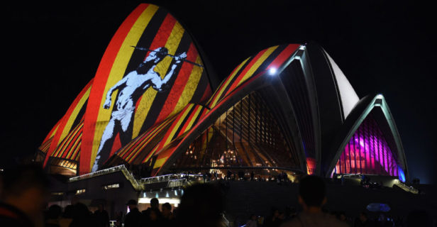 Australia's iconic Opera House is lit up with an art installation called Songlines during a festival in 2016. For Aboriginal Australians, songlines are memories of routes through landscapes, which highlight their histories and associations, that have been orally passed on for hundreds of generations.