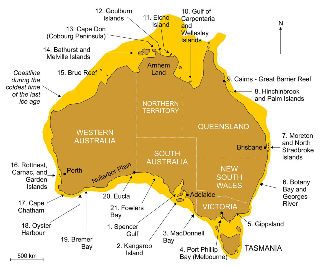 This map of Australia shows the 21 places where Aboriginal peoples have memories of times when sea level was lower than it is today, a process attributable to postglacial sea-level rise, which ended about 7,000 years ago around Australia.