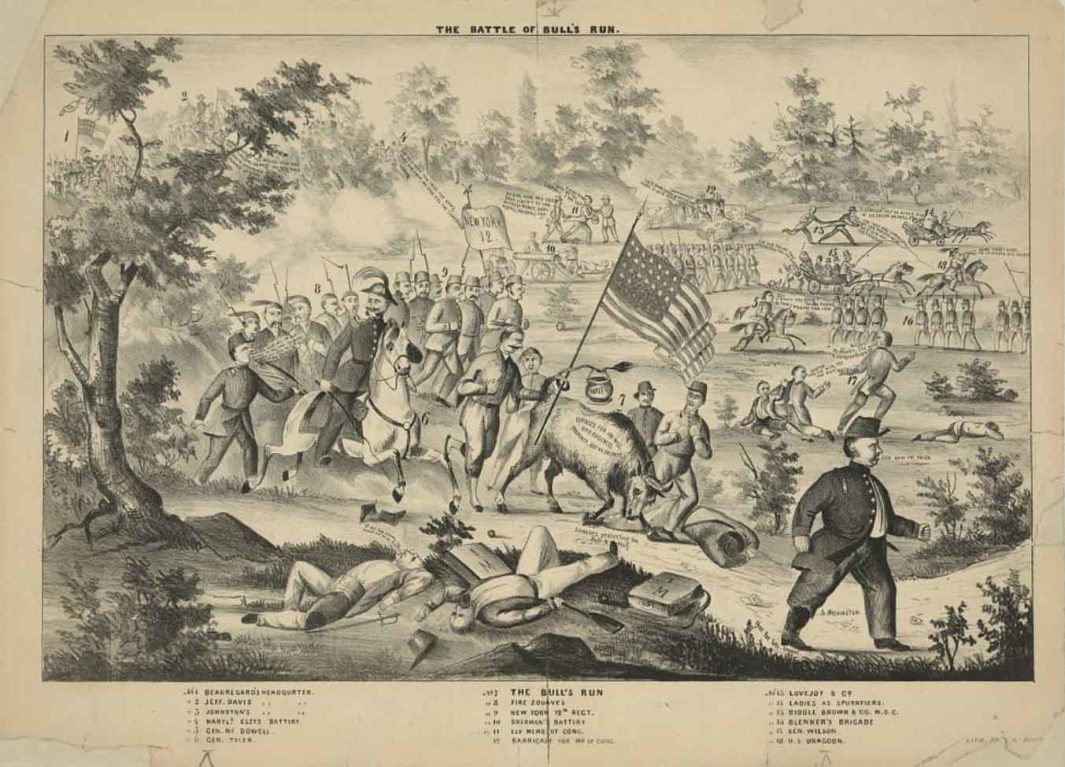 This 1861 cartoon of the Bull Run battlefield, the first major conflict of the U.S. Civil War, includes a portrayal of observing House members and spectating women.
