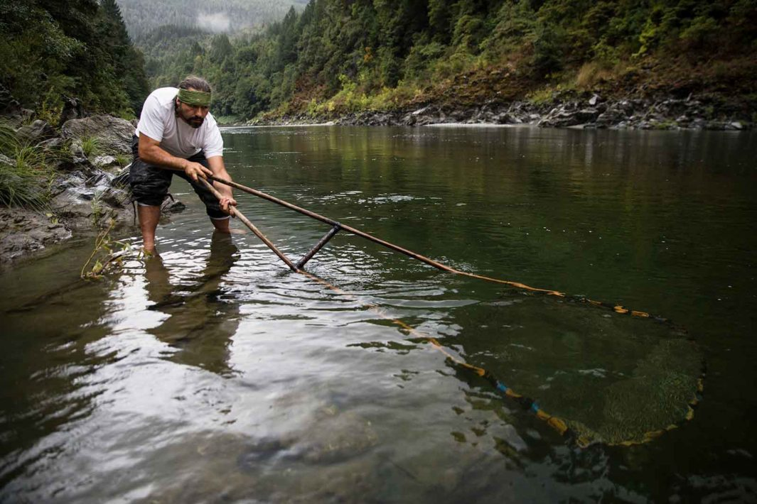 "A Yurok man uses a traditional technique called ""dip"" netting to catch salmon on the Klamath River in Oregon. In popular media, such customs are often used to signal ""real"" Native Americans, even as contemporary practices, such as owning a business, are seen as ""less authentic"" for Indigenous people."