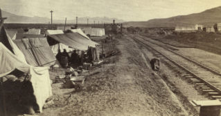 Chinese workers with the Central Pacific Railroad camped close to Brown's Station, Nevada, in the 1860s.
