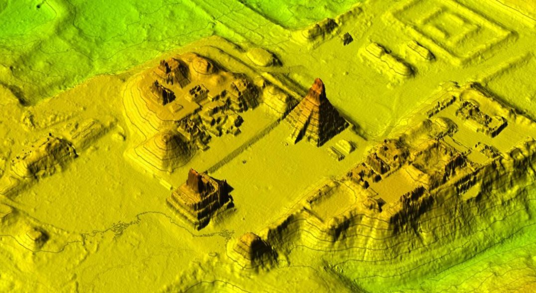 Using a remote-sensing tool called lidar, archaeologists can see what lies hidden underneath dense vegetation. This lidar image reveals the grand plaza of the Maya city of Tikal in present-day Guatemala.