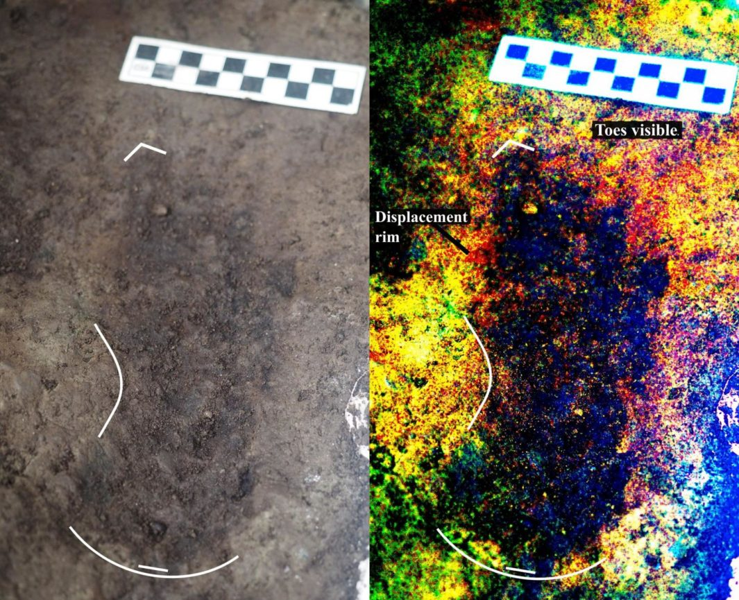 Researchers uncovered this 13,000-year-old footprint on a beach on Calvert Island, British Columbia.
