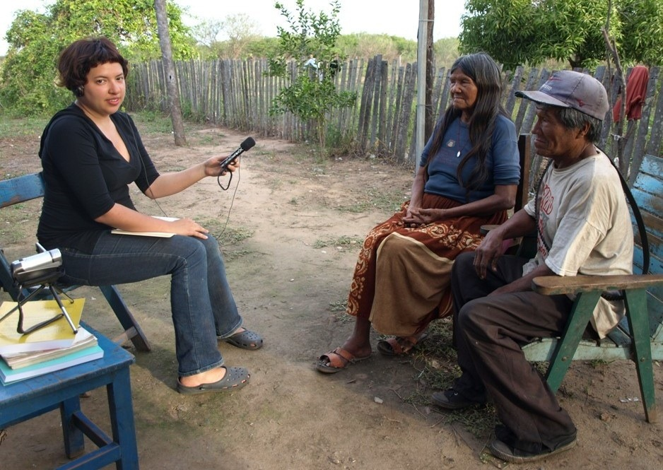 language revitalization - The author (left) interviews Ayoreo speakers Ige Carmen Cutamijo and Peje Picanerai in Cucaani, Paraguay. Ayoreo is spoken by approximately 3,000 Indigenous people in Bolivia and Paraguay.