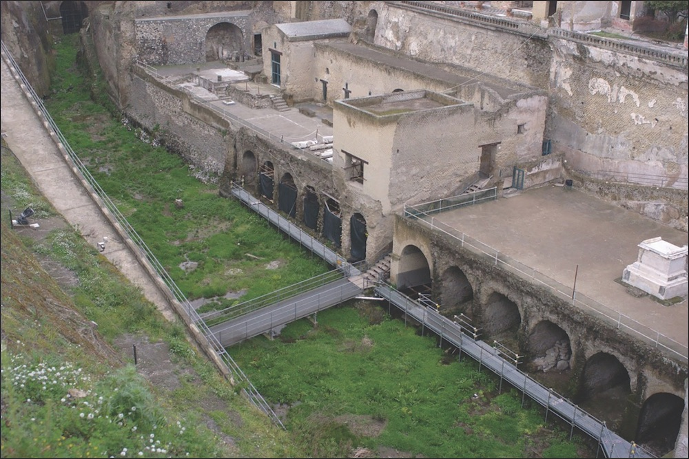 Archaeologists have found the remains of many people who perished at Herculaneum in the city's boathouses, which are featured here.