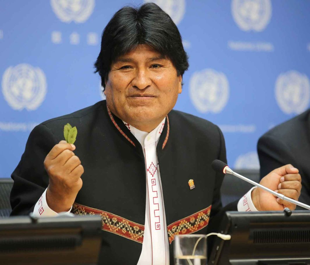 At a United Nations conference in 2016, then-President Evo Morales pleads for the right of farmers in Bolivia to grow coca for traditional purposes.