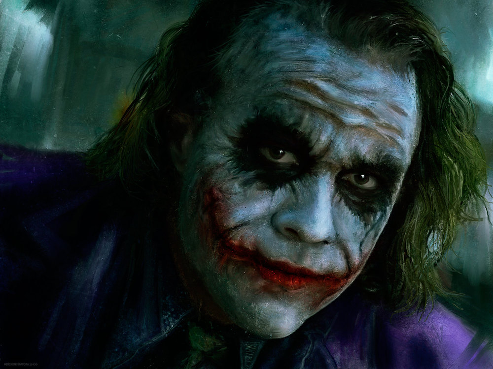The DC Comics character the Joker, played by Heath Ledger, displays how facial scars can be used to characterize evil.