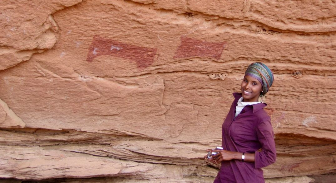 first female archaeologists - Archaeologist Sada Mire, a visiting professor of archaeology at Leiden University in the Netherlands, stands at Somaliland's Dhambalin, a 5,000-year-old rock art site her team discovered in 2007.