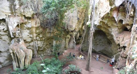 An overhead shot of a limestone cave with green vegetation inside. Two people stand near a fence on the right.