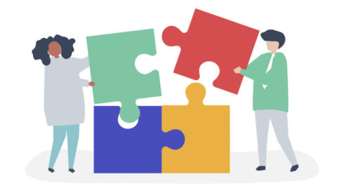 An illustration of two people each fitting a brightly colored puzzle piece into a puzzle to complete it.