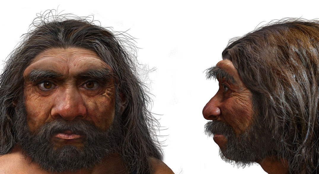 The face and profile of an ancient human with long, dark hair, bushy eyebrows, and a full mustache and beard.