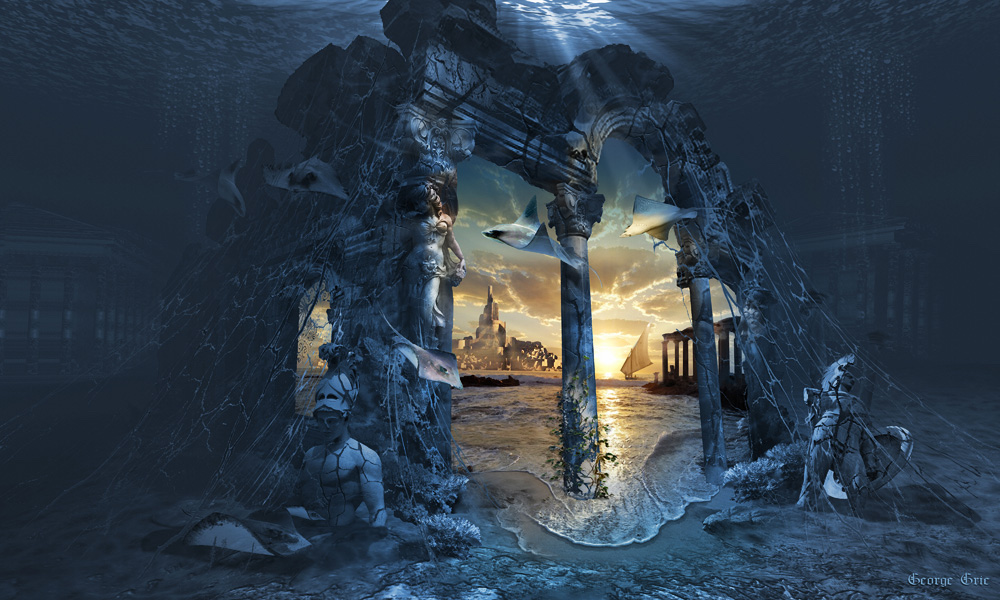 An illustration features a blue and gray ancient underwater ruin with golden light and buildings in the center.
